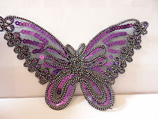 1 large purple butterfly sequin applique patch motif iron on sew embellishment