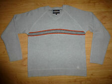TOMMY HILFIGER GREY STRIPE V NECK COTTON JUMPER SWEATER FOR MEN SIZE L/ XL