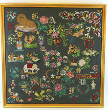 "COMPLETED Framed Cross Stitch 24"" x 24"" Square Sampler Floral Animals CLASSIC"