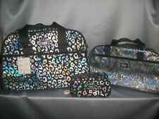 Victorias Secret Pink Iridescent Leopard Bling 3pc travel Wheelie Duffel Bag NWT