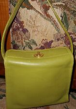 Unusual c.1960s Small Mod & Streamlined Lt. Olive Green LEATHER Satchel
