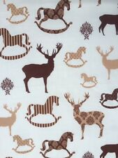 Christmas Fabric Remnant  50cm x 40cm 100% Cotton Stags & Rocking Horses