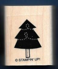PINE FIR TREE DOTS SWIRL Gift Tag Landscape NEW STAMPIN UP! CRAFT RUBBER STAMP