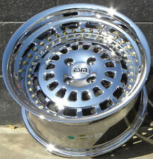 15x9 4x100 Platinum Chrome ESM-015 Wheels Rims Honda Acura Civic Intergra Mazda