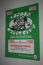 1982 SPEEDWAY PROGRAMME OVERSEAS FINAL (WHITE CITY )