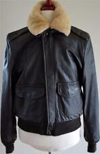 Schott USA Seal Brown Leather Detachable Fur Collar Flight Bomber Jacket 42/L