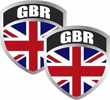 "2 Britain Union Jack Flag Shield Decal SET 3""x2.5"" Badge British great britain"