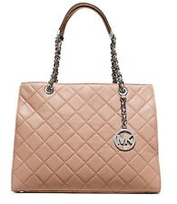 NWT MICHAEL Michael Kors Susannah Large Quilted Blush Silver Leather Tote