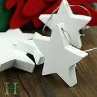 New Set 10pcs White Wooden Stars Wedding Christmas Tree Decoration Rustic Nordic