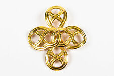 VINTAGE Chanel 96P Gold Tone Woven Swirl Cut Out 'CC' Cross Brooch Pin