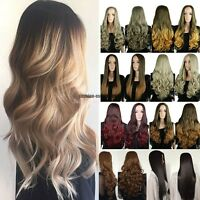 3/4 Full Head Wigs Ombre Wig Long Straight Curly Wavy Wigs Ombre Ash Blonde UK