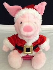 "12"" Disney Store Winnie The Pooh HOLIDAY PIGLET Christmas Plush Santa Helper Hat"
