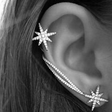 Women Punk Gothic Snowflake Rhinestone Clip Ear Cuff Wrap Stud Earrings NEW