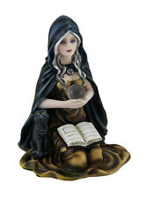 Kneeling Witch Holding Crystal Ball w/Black Cat Figurine