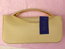 Stuart Weitzman Champagne Gold Lame Swarovski Ladies Evening Formal clutch bag