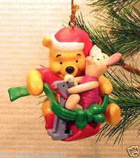 WINNIE THE POOH & PIGLET Rocking Horse Santa Hat CHRISTMAS ORNAMENT Disney XMAS