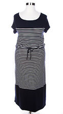TALBOTS WOMEN'S NAVY BLUE STRIPED SHORT SLEEVE TERRY SOFT MAXI DRESS PLUS Sz 3X