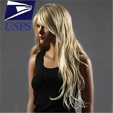 Light Blonde Long Sexy Curly Wavy Cosplay Party Women Heat Full Hair Wig