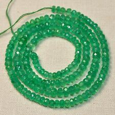 "3mm-4.2mm Colombian Emerald faceted Rondelles Beads 15.5"" Strand"