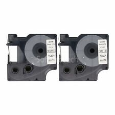 """2pk Black on White Label Tape Compatible for DYMO 53713 D1 24mm 1"""""""
