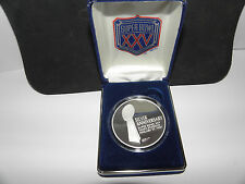 NFL Super Bowl XXV 25 Tampa Commemorative Silver Medallion