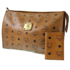 MCM Logos Pattern Clutch Bag Card Cace Set Brown Leather Germany Auth #6055.56 W