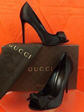 NIB GUCCI BLACK SATIN PEEP TOE BOW CLASSIC PUMPS 39 9 #370436 $695 ITALY