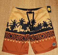 LIFE IS GOOD Men's 36 BOARD SHORTS Tribal Palm SWIM TRUNKS NWT $48