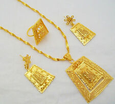 5Pc Fashion Gold Plated Filigree Pendant Chain Necklace Indian Women Jewelry Set