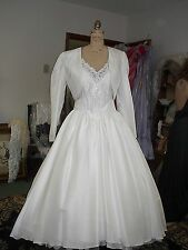 IVORY SILK DUPIONI 1950'S STYLE BRIDAL GOWN WITH BOLERO JACKET  SIZE 16