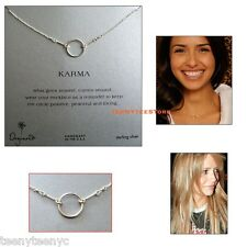 "Dogeared Sterling Silver ORIGINAL KARMA Circle 16"" Length Necklace with Pouch"