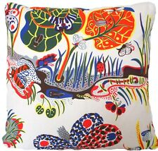 """Josef Frank Fabric Cushion Cover Butterfly Floral Printed Cotton White Blue 16"""""""