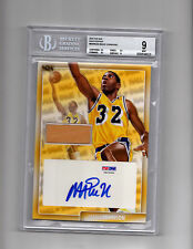 Super Break THE BAR MAGIC JOHNSON GAME USED FLOOR AUTO BGS PSA/DNA LAKERS