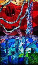 'ELEMENT CITY' framed in steel ORIGINAL DESIGNER GLASS LEADLIGHT WINDOW or DOOR