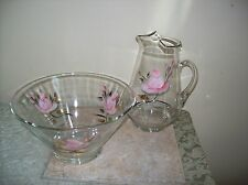 Vintage Glass Water Pitcher & Chip/Salad/Friut Bowl 1950s