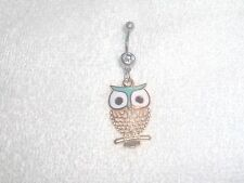 Green Color Owl Charm Belly Button Navel Ring Body Jewelry Piercing 14g