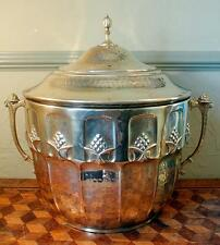 ART NOUVEAU Secessionist Hand Beaten Lidded Brass Coal Scuttle Jugendstil Signed