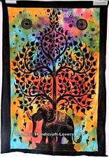 Indian Cotton Wall Art Small Poster Tapestry Elephant Tree of Life Wall Hanging