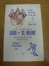 15/03/1969 programma Rugby League: Leigh V St. Helens (Team delle modifiche, luce MARKI
