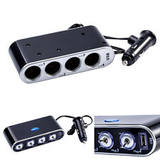 4 Way Car Cigarette Lighter Socket Splitter DC 12V/24V + USB + LED Light Switch