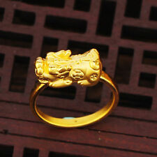 New Authentic 24K Yellow Gold 3D Craft Pixiu Bless Ring Size 6