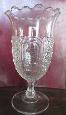 Daisy and Button Clear Glass Footed vase with Ruffled top Vintage
