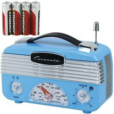 NEW Coronado Vintage Style Retro Blue AM/FM Portable Radio With 4 AA Batteries