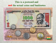 Postcard: India Circulating Coins and Currency (Banknote) 2013
