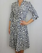 LAURA ASHLEY grey geo print SILK & cotton blend empire shirt tea dress size 8 34