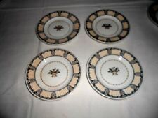 """4 Wedgwood Etruria England """"Chippendale"""" Black & Gold 5 3/4"""" Bread Plates"""