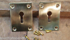 2 LARGE RECTANGULAR POLISHED SOLID BRASS KEY HOLE ESCUTCHEON PLATES 4 SCREW
