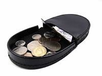 Mens Ladies Womens High Quality Black Real Leather Coin Tray Pouch Wallet Purse