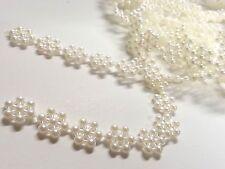 3m x 10mm Ivory Vintage Pearl Flower Snowflake Bridal Wedding Trim Ribbon, CRAFT