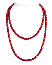 "Red carnelian bead -6mm necklace - 24"" long NKL280001"